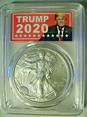 2020 American Silver Eagle $1  PCGS MS 70 First Day Issue  - TRUMP 2020 Label
