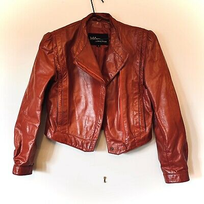 Red Vintage Genuine Leather 80s Jacket Size 8-12
