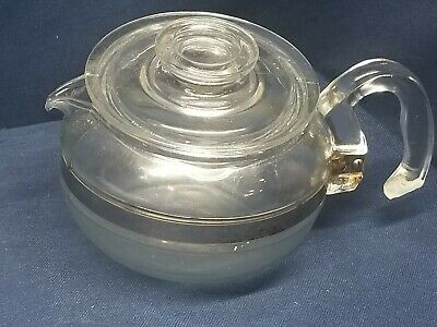 Pyrex Clear Glass Coffee Pot 6 Cup Without Percolator Stem/Basket USA 8446B