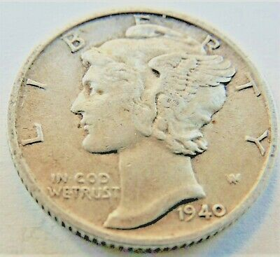 1940 S UNITED STATES, Mercury Dime grading About VERY FINE.