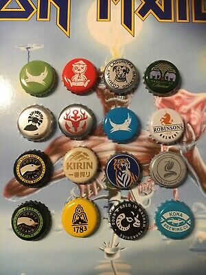 16 Beer Bottle Crown Caps Tops Different Designs (Lot SW) Used