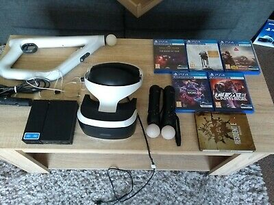 sony ps4 vr headset move controllers aim controller camera and 6 x games