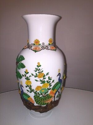 STUNNING 20th CENTURY SIGNED CHINESE PORCELAIN VASE WITH APPLIED DECORATION