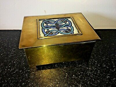 Antique Celtic Arts & Crafts Brass Box Enamel & Brass Inlaid Celtic Knot Lovely