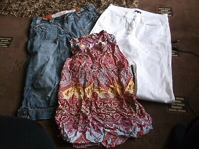 lovely Ladies Bundle of 3   White Jeans, cropped jeans pretty top  size 12  VGC