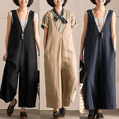5XL Women Sleeveless Loose Wide Leg Jumpsuit Overall Baggy Casual Rompers Zsell
