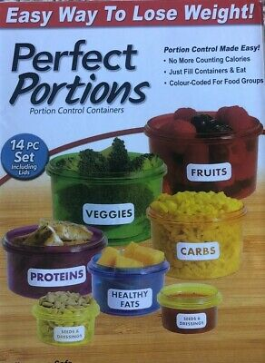 Perfect Portion, Healthy Control Pots Marked Containers Weight Loss Diet Slim