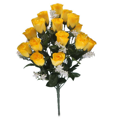 Artificial Silk Flowers Roses Bunch Of 18 Heads With Gypsophelia In Yellow