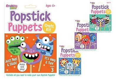 Childrens Craft Kit - Pop Stick Puppets - Kids Craft Kits - 4 Different Themes