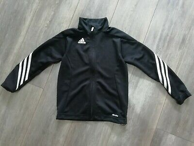 Boys girls Adidas Tracksuit Top 7 - 8 Years black + white stripes casual coolUK