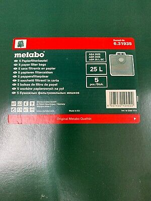 Metabo 631935000 9 Gallon Paper Filter Collection Bags (Pack of 5)