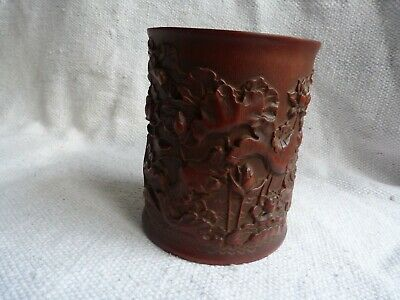 Top Quality Antique Chinese Bamboo Brushpot With Lotus Flowers & Calligraphy