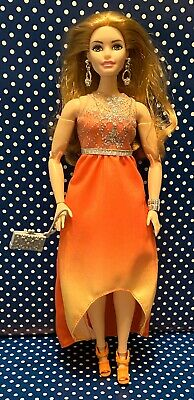 Barbie Complete Fashion: Orange Ombre High Low Dress Jewelry + Bag & Shoes