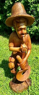 Vintage Wood Carved Tobacco/Cane Farmer Worker Smoking Pipe Folk Art - 2.5' Tall