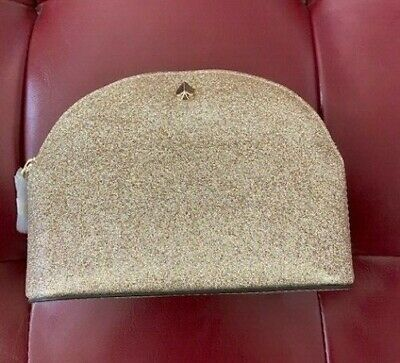 Kate Spade New York Burgess Court Small Dome Cosmetic Case -Gold Glitter