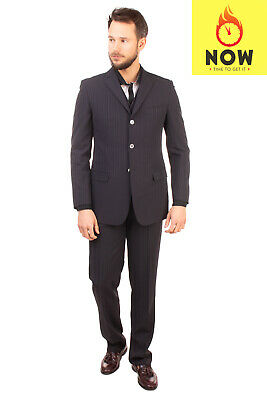 RRP €520 PAL ZILERI CERIMONIA Suit Size 48 Wool Blend Pinstripe Made in Italy
