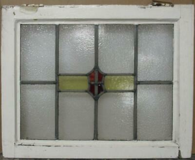 "MIDSIZE OLD ENGLISH LEADED STAINED GLASS WINDOW Geometric Shield 22.75"" x 18.25"""