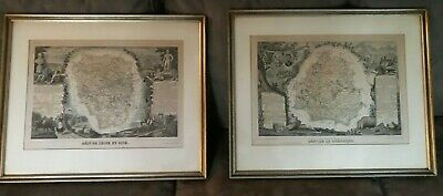 Victor Levasseur Map Pair c1850 Framed Atlas National Illustre Engravings
