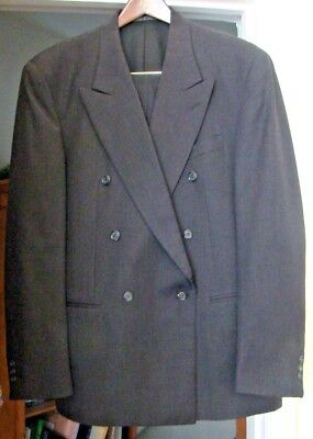 Men's Vito Rufolo Italy 100% New Wool Charcoal Double Breasted Suit, Size 41 R