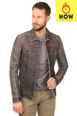 RRP€1135 DRKSHDW BY RICK OWENS Jacket Size M Coated Cracked Effect Made in Italy