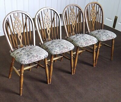 4 Upholstered Wheelback Windsor Dining Chairs