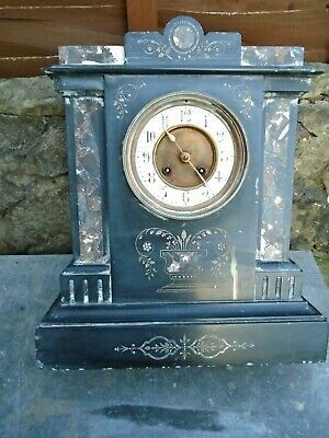 Heavy,Antique,Inlaid, Marble Clock