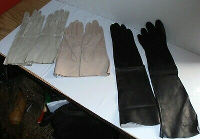 Vintage Ladies Leather Gloves 3 Pairs All Washable Black Bambergeis Italian