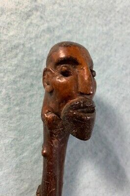 Antique Folk Art Cane Handle Hand Carved in the Shape of a Man's Face