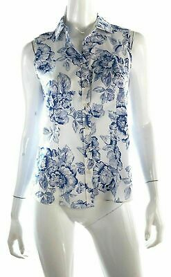 Charter Club Womens 33197 NWOT Tailor Fit Blue White Floral Sleeveless Top Sz 4