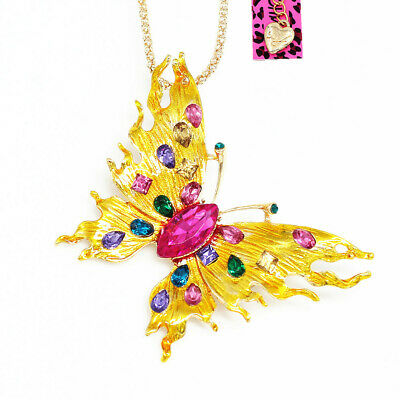Betsey Johnson Enamel Crystal Cute Butterfly Pendant Chain Necklace/Brooch Pin
