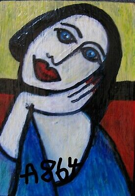 "A864 Original Acrylic Art Aceo Painting By Ljh  ""Picasso Lady"""