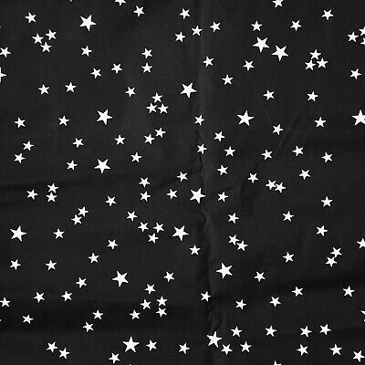 Quilters Cotton Black and White Star Print New Unwashed 2+ Yards Solar System