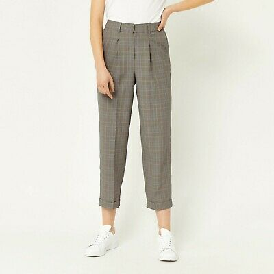 WAREHOUSE TROUSERS HERITAGE PEG LEG TURN UPS GREY CHECK  40s Landgirl  Sz 12 NEW