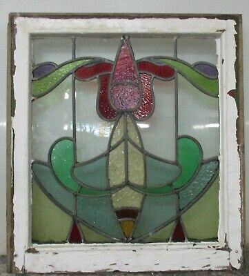 "MIDSIZE OLD ENGLISH LEADED STAINED GLASS WINDOW Stunning Tulip design 22"" x 24"""