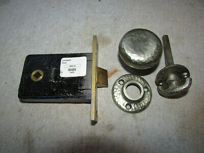 Antique Cast Iron Door Knob Lock Set w/ Escutcheon Hammered Finish