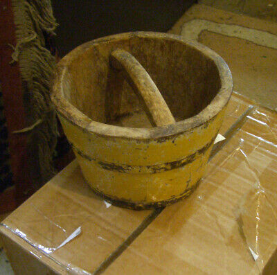 Old small wooden yellow bucket for desk,plant, bucket list - GC Sell for Charity