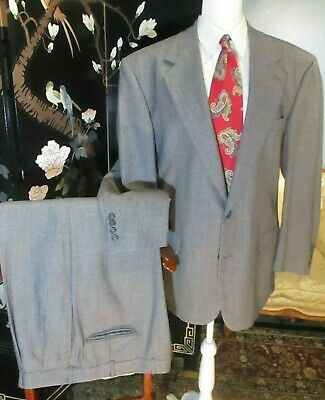 Brooks Brothers Mens VTG checked window pane grey Suit 43R 40.5W x 29.5L USA