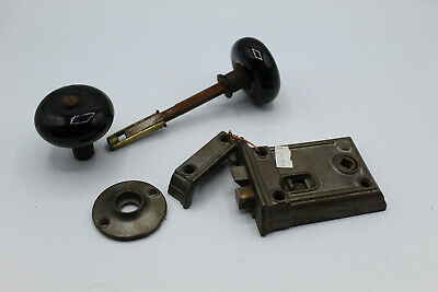 VTG Antique Rim Lock Set w/ Black Porcelain Knobs & Escutcheon