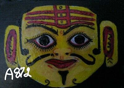 """A872  NEW -    ORIGINAL ACRYLIC ACEO PAINTING BY LJH    """"MASK""""  One-Of-A-Kind"""
