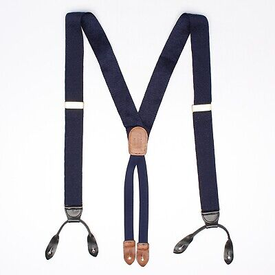 Cole Haan Mens Woven Nylon Braces Suspenders Solid Navy Blue Leather Button Tabs