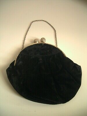 Black vintage antique purse with chain - GC - Sell for Charity