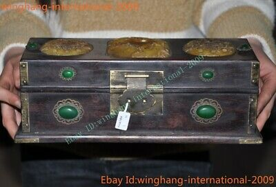 Rare Old Chinese Rosewood wood inlay jade gem carve lotus bird Storage box boxes