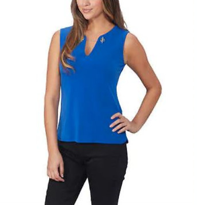 Calvin Klein Suit Womens Blue Sleeveless Top With Chain Detail Size L NWT