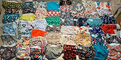 50 Piece cloth Diaper Lot With 77 insert AnAn Baby Glow Bug GroVia Funky Fluff