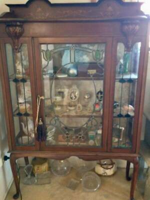 Antique Leadlight Cabinet Made In England 1880S Vgc