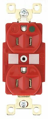 Bryant 15,  Heavy Use Hospital Grade,  Receptacle,  Red,  No Tamper Resistant