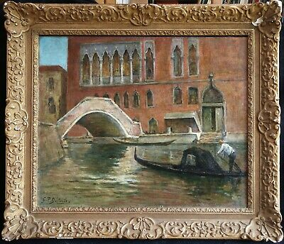 Georges Dieterle (1844-1937) Huge Signed French Oil - Gondolier Venice Canal