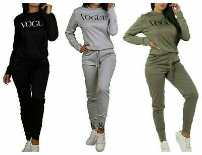 Kids Girls VOGUE print 2 Piece Co Ord Set Print Top Bottoms Fleece Tracksuit