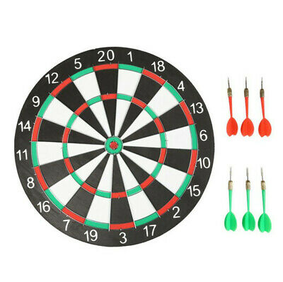"Large 15"" Dart Board Set Dartboard Family Party Game Fun With 6 Darts UK Seller"