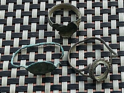 Lot Of 3 Ancient Late Roma And Byzantine Bronze Rings Circa 400-800 Ad.